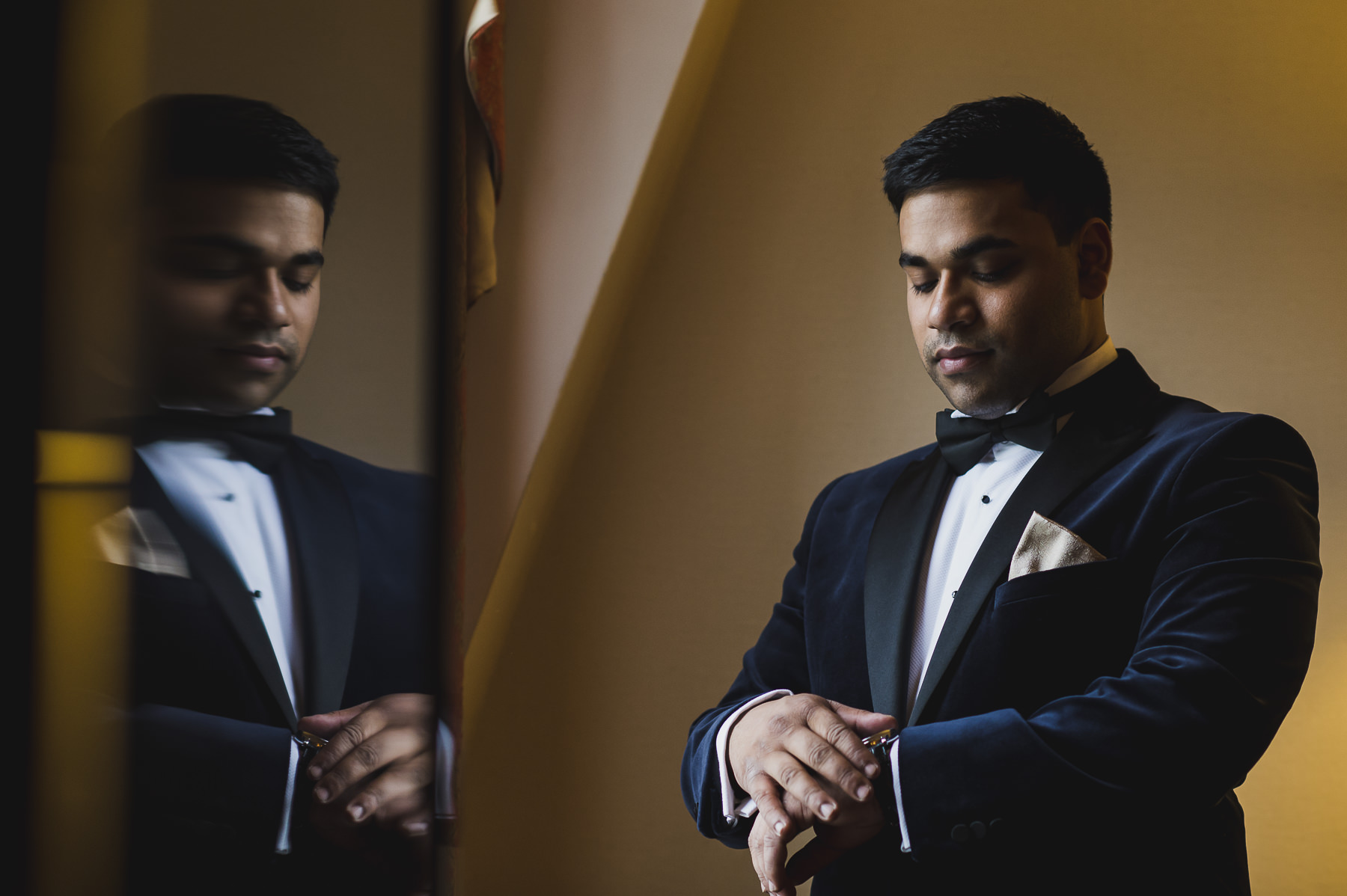 Groom Getting Ready for Reception at Millenium Mayfair Hotel Wedding Photography
