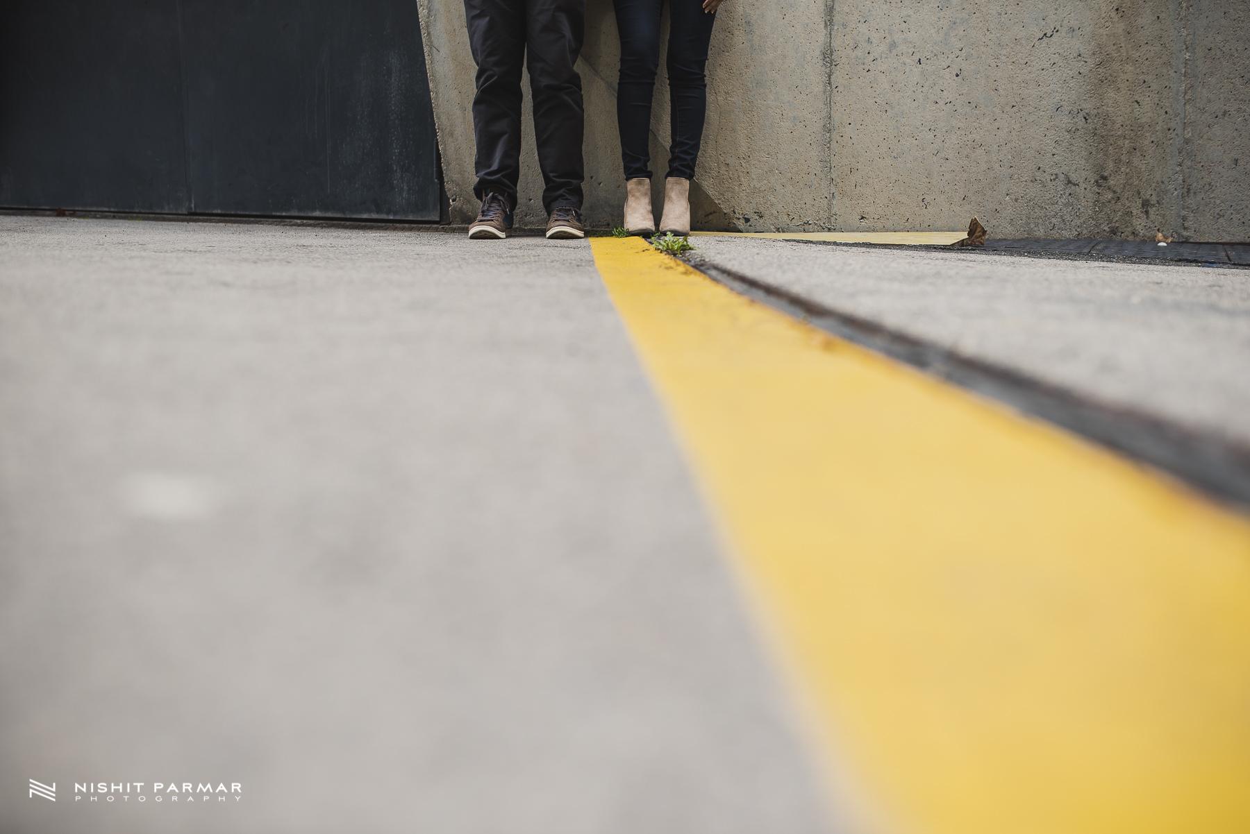 Barcelona Prewedding Shoot Asian Wedding Photography Yellow Line