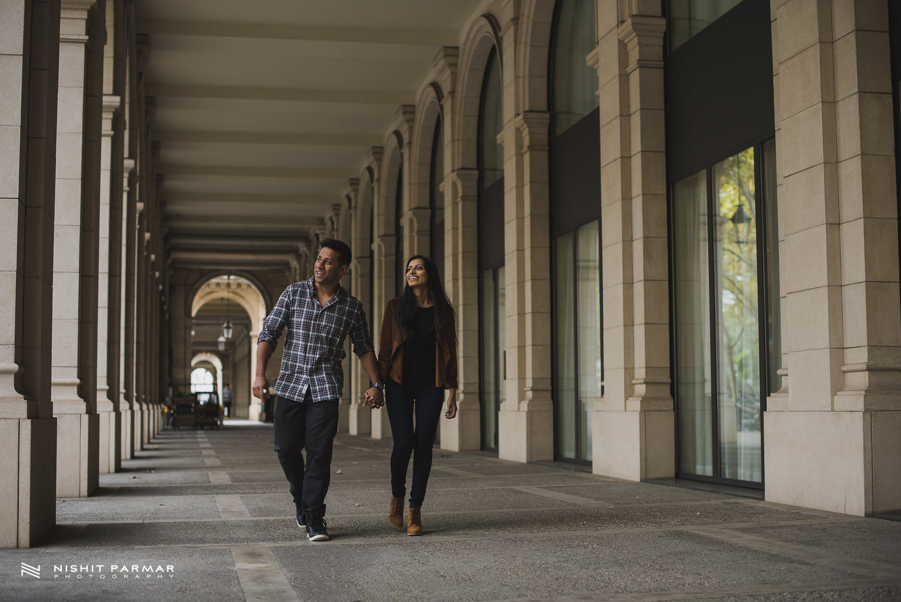 Barcelona Prewedding Shoot Asian Wedding Photography Walking through Arches
