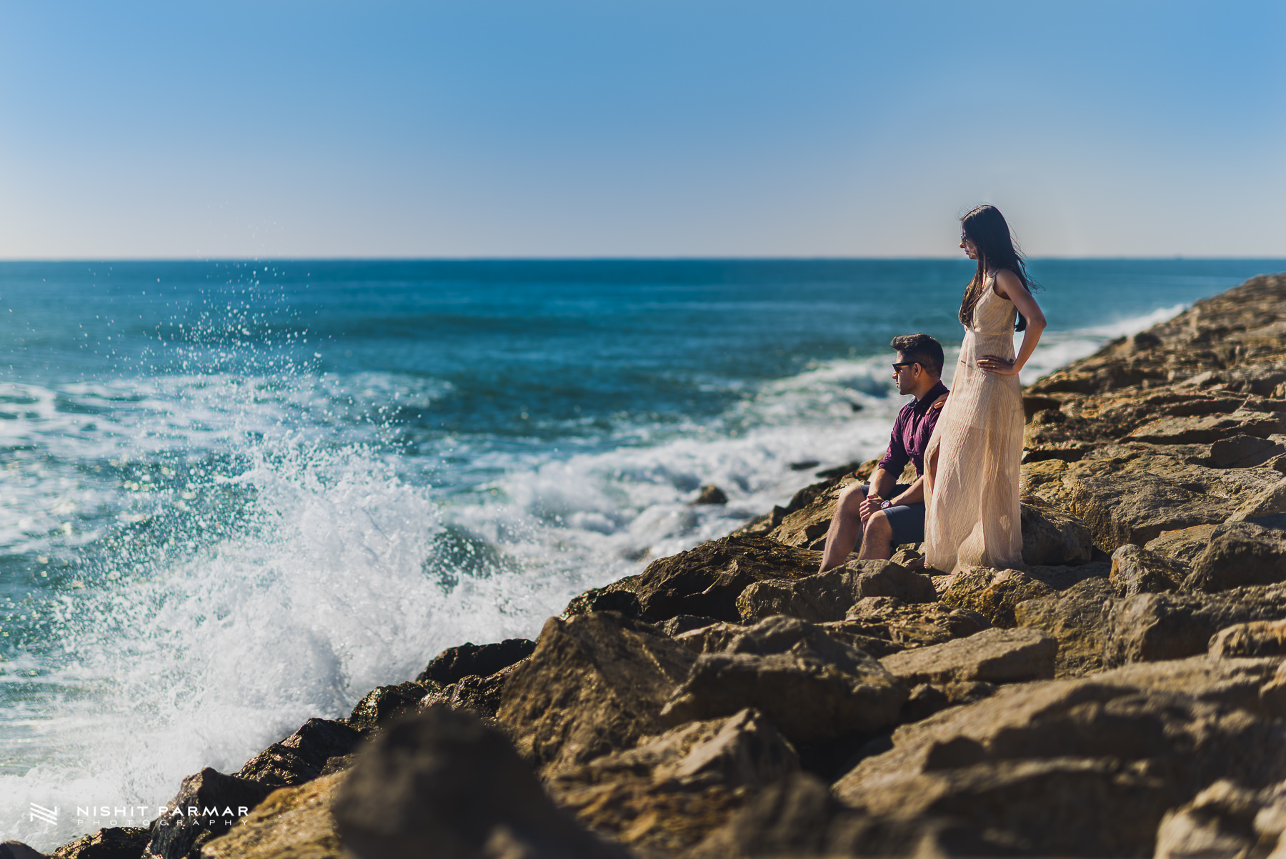 Barcelona Prewedding Shoot Asian Wedding Photography in Stiges watching the waves crash