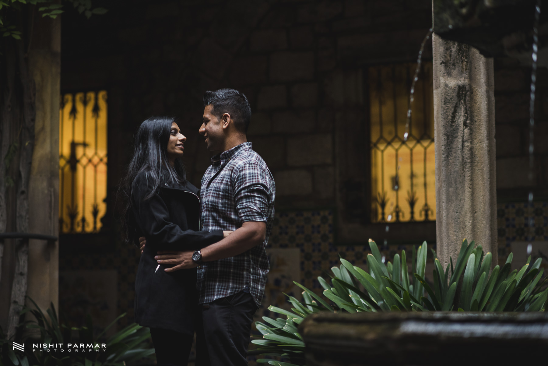 Barcelona Prewedding Shoot Fountains and Shards of light Asian Wedding Photographer