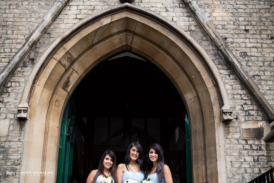 Bridesmaids waiting at Church Entrance