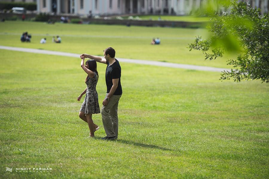 Twirling in Greenwich Park - Prewedding Shoot - Asian Wedding Photographer