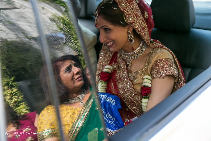 Bride leaving mum reflection Indian Wedding