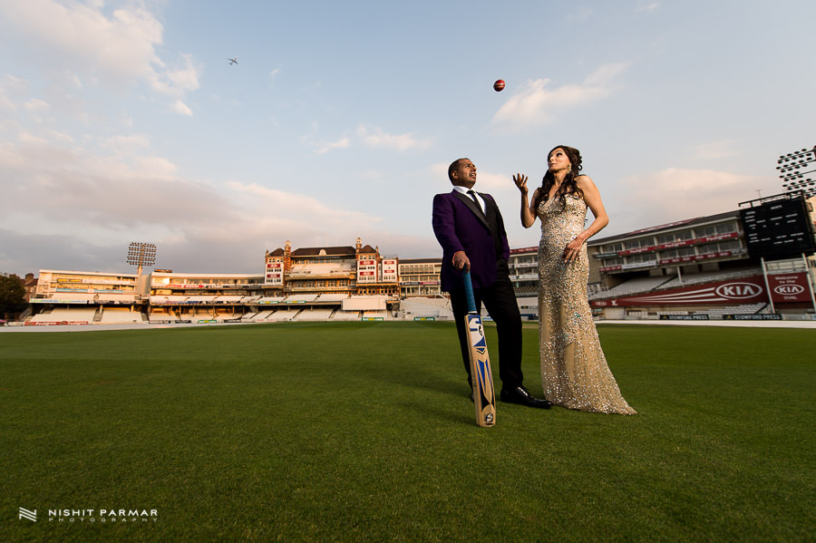 Bride and Groom on the Oval Cricket Pitch