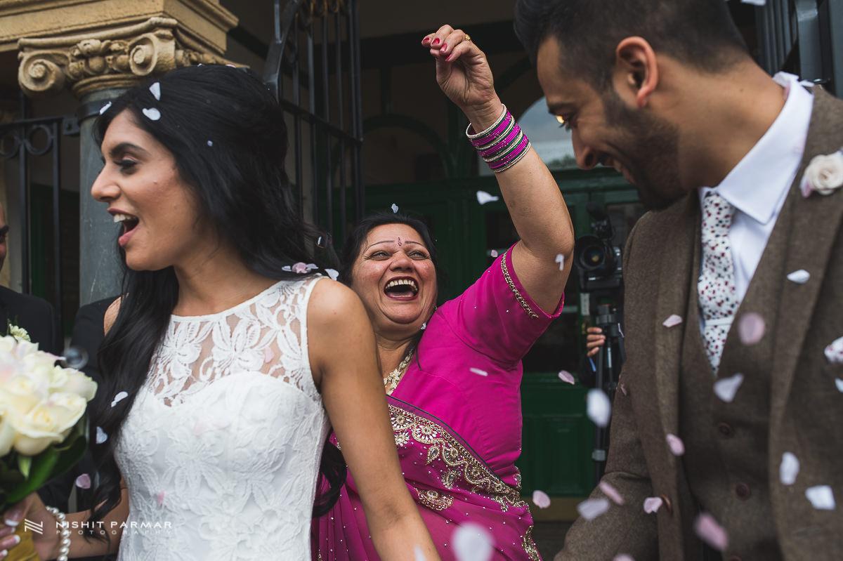 Civil Wedding East London Wedding Photographer Asian Wedding Photography Getting Ready Wedding Photography Confetti