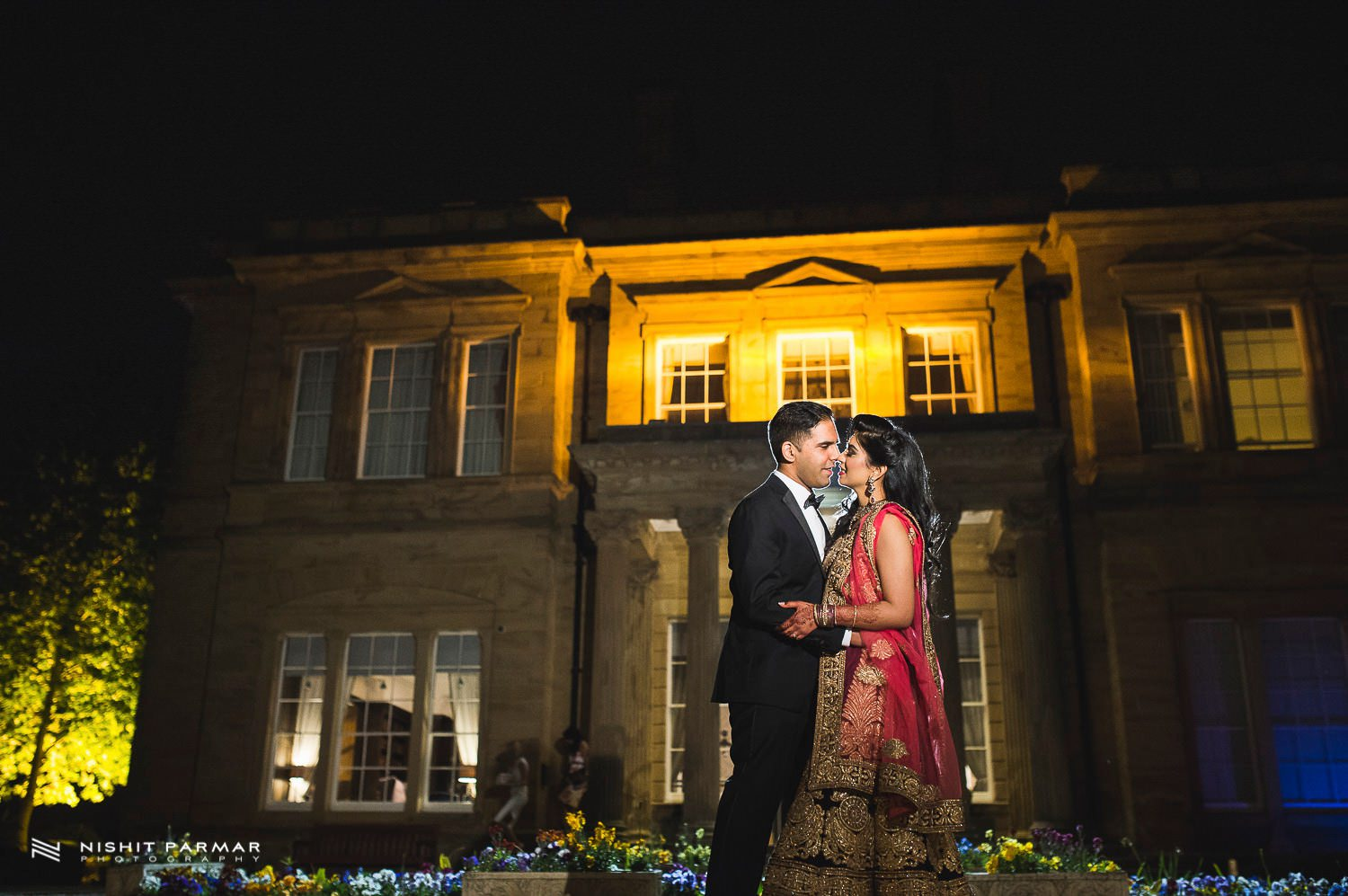 Oulton Hall Leeds Hindu Wedding Reception Asian Wedding Bride and Groom