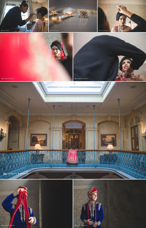 Oulton Hall Leeds Hindu Wedding Reception Asian Wedding Bride and Groom-Collage