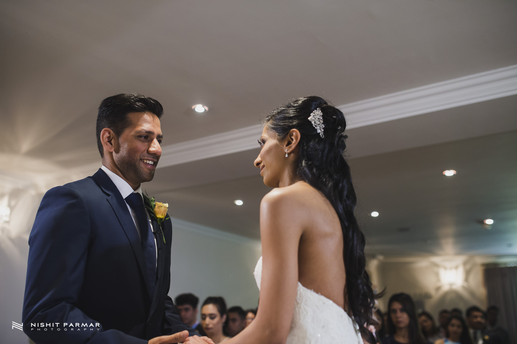 Civil Wedding Laura Ashley Manor Elstree London Wedding Photographer - exchanging vows