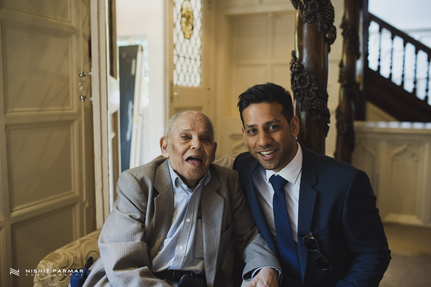 Civil Wedding Laura Ashley Manor Elstree London Wedding Photographer - Groom with grandad