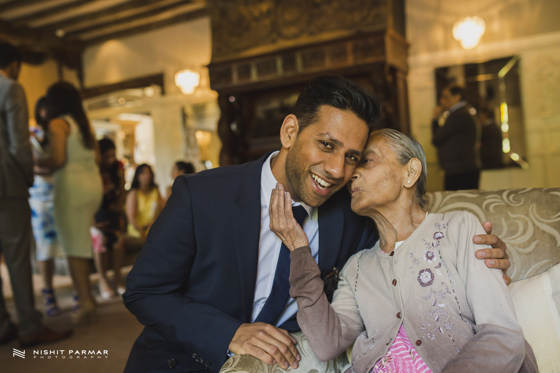 Civil Wedding Laura Ashley Manor Elstree London Wedding Photographer - Groom with grandmother