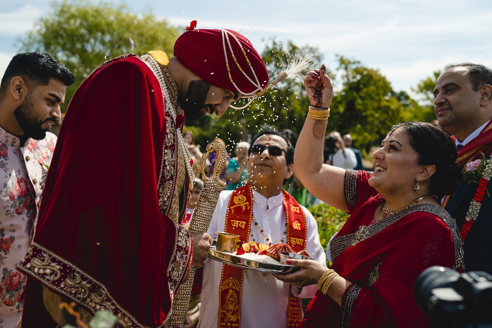 pokhwanu blessing of the groom at the beginning of the hindu wedding
