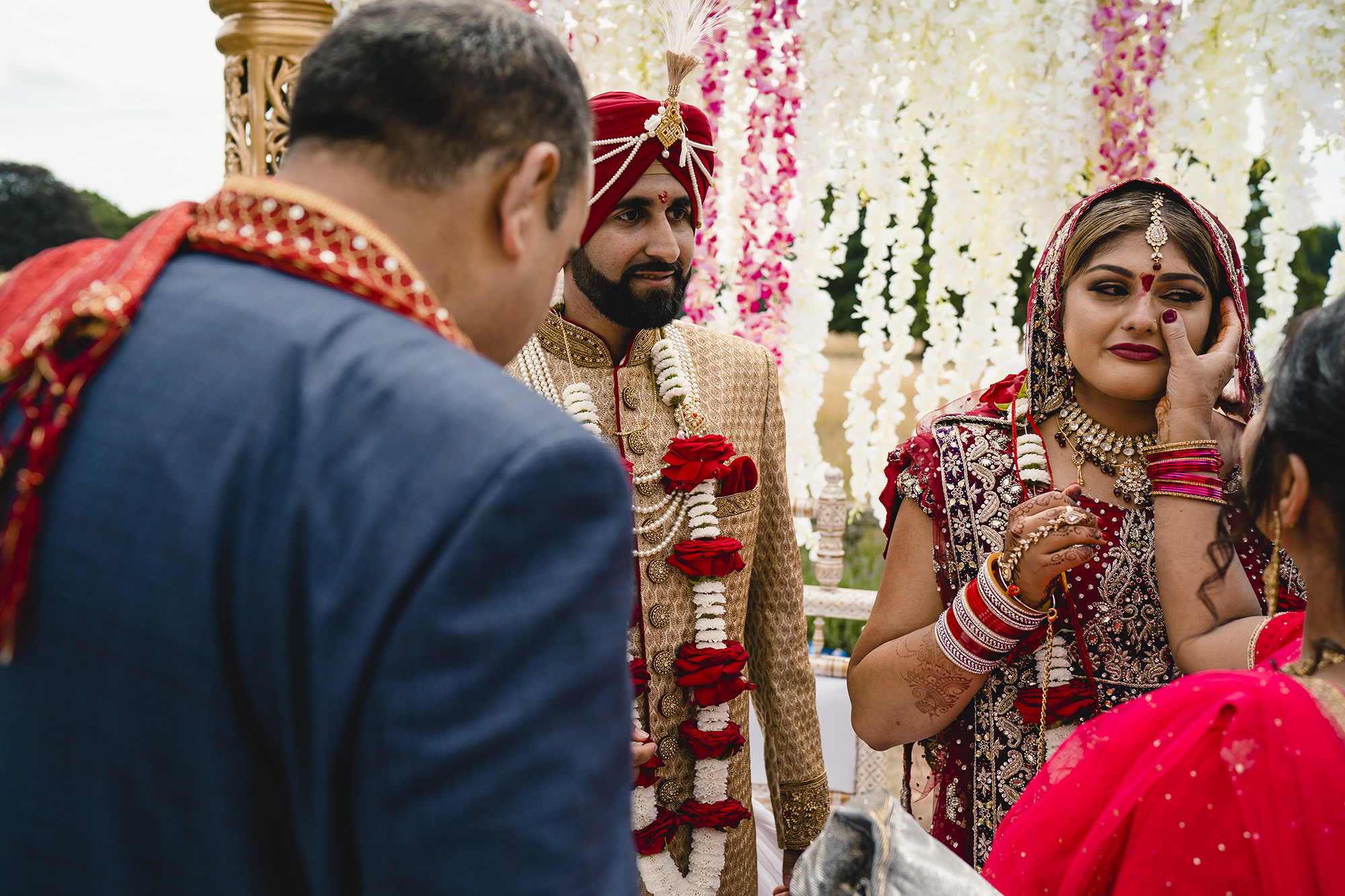 bride and groom at the end of their hindu wedding ceremony