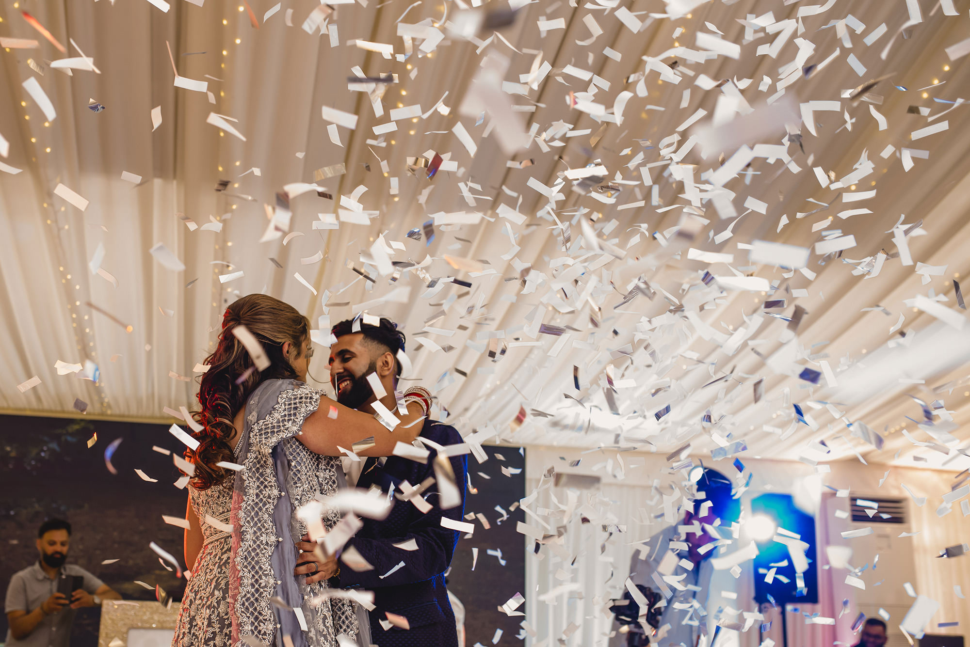 bride and groom first dance at quendon hall