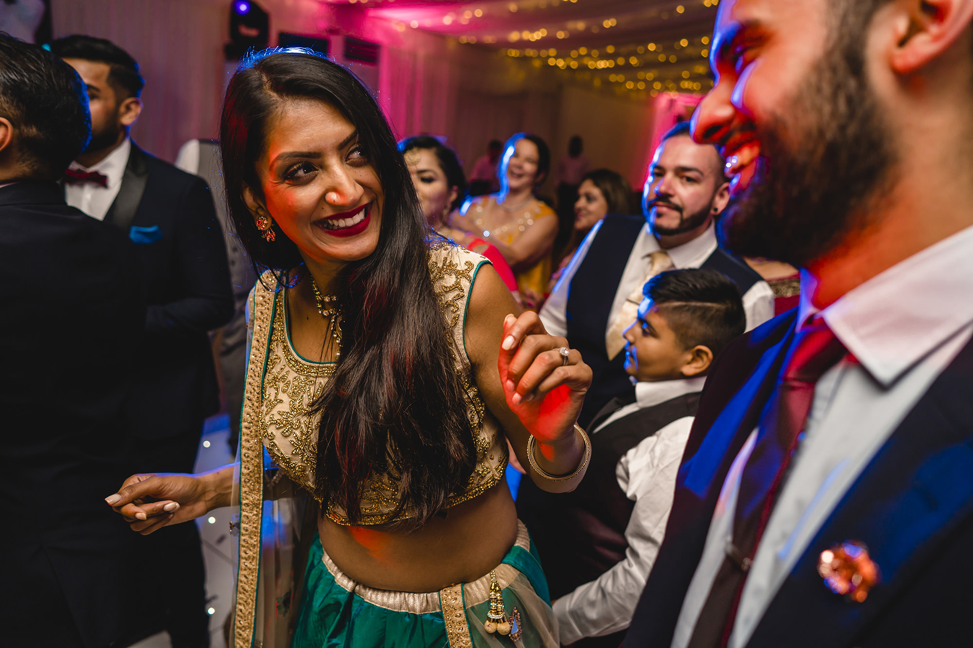 friends partying at the asian wedding party
