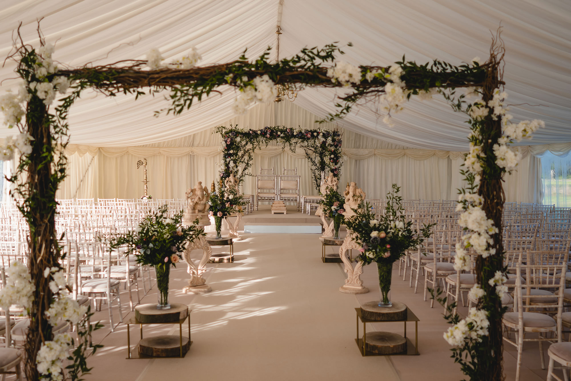 wedding aisle details for hindu wedding at stapleford park