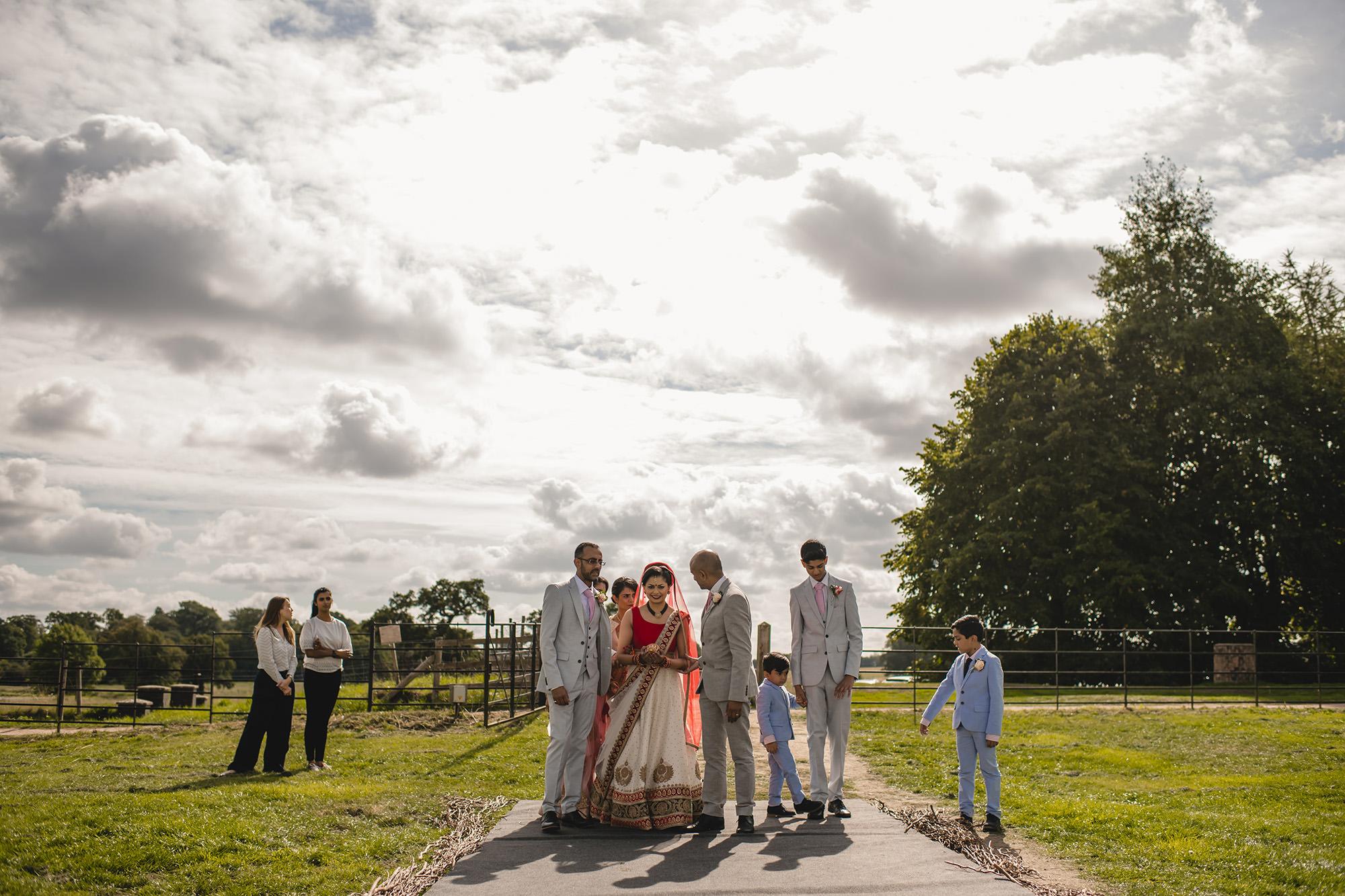 bride preparing to make her entrance for her wedding