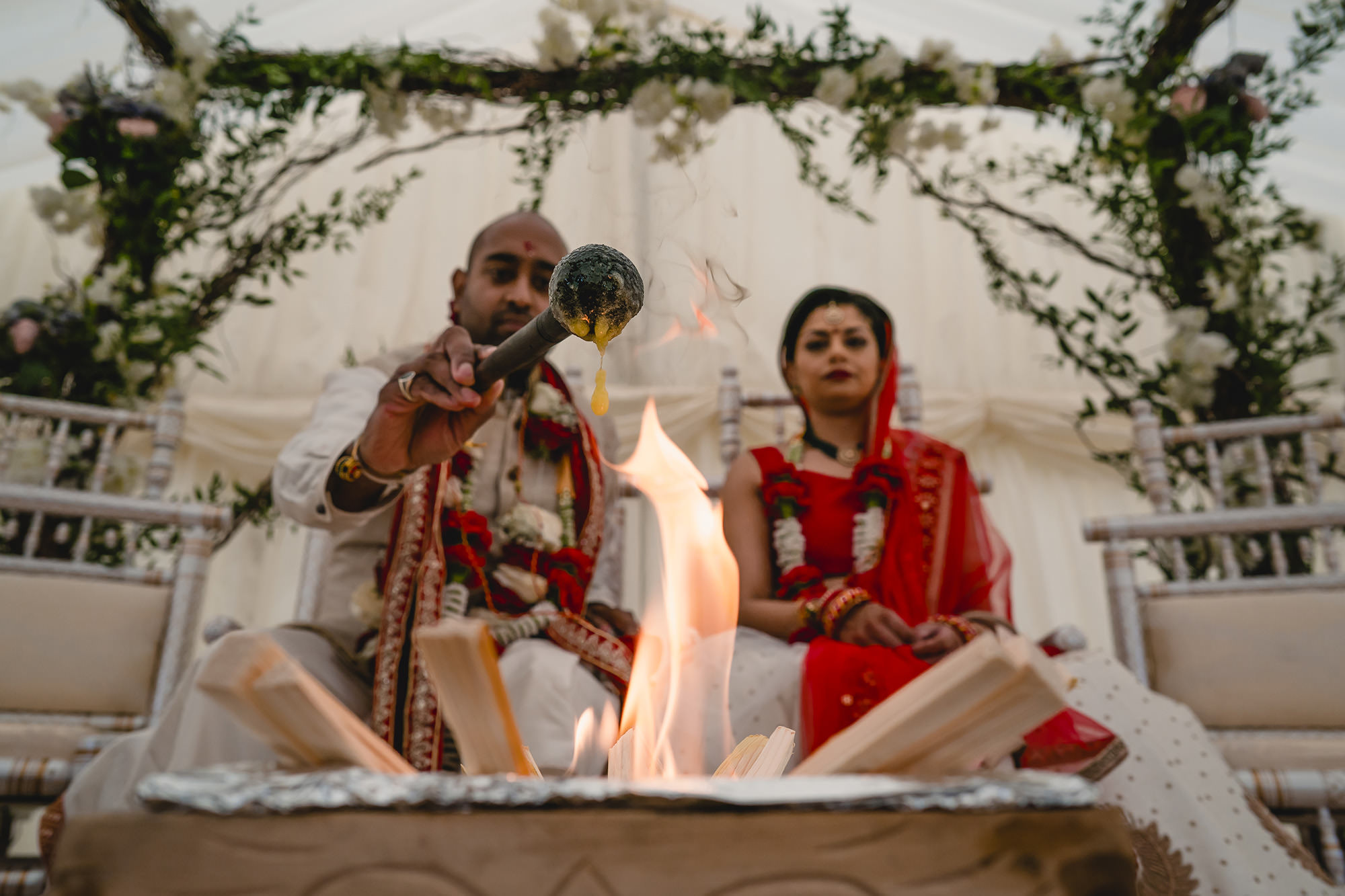 fire ceremony at hindu wedding at stapleford park