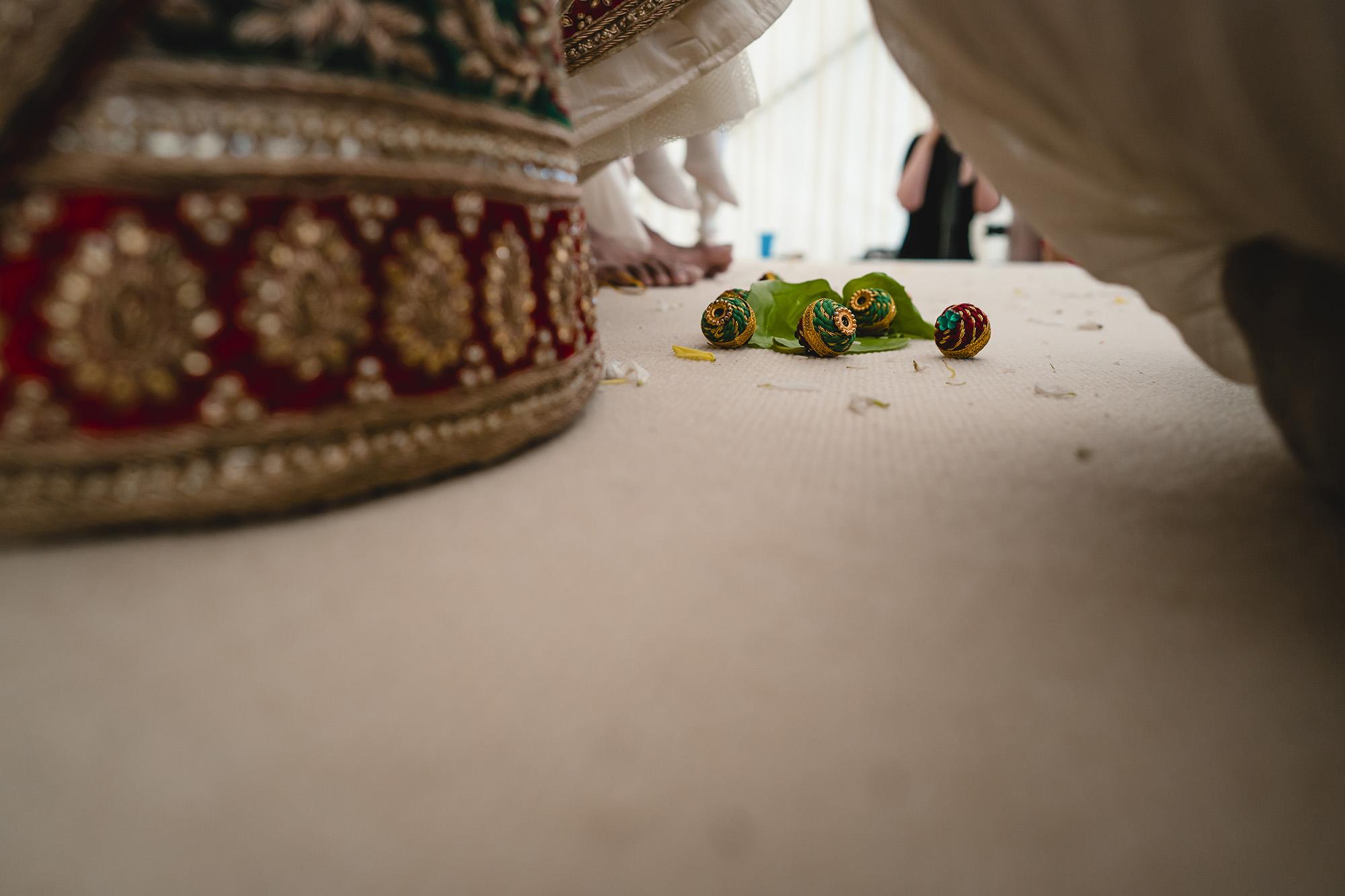 close up of saptapedi at hindu wedding