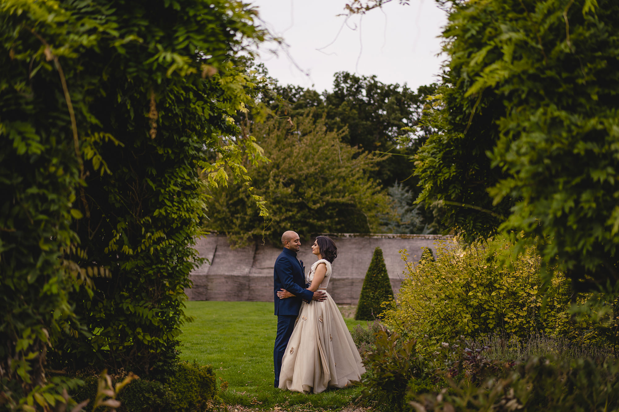 bride and groom portrait at stapleford park