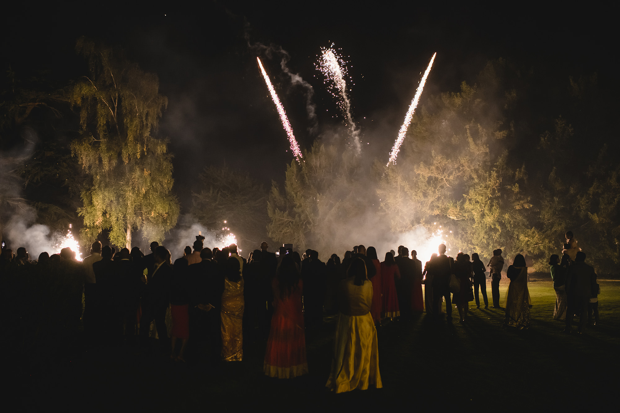stapleford park fireworks during wedding reception