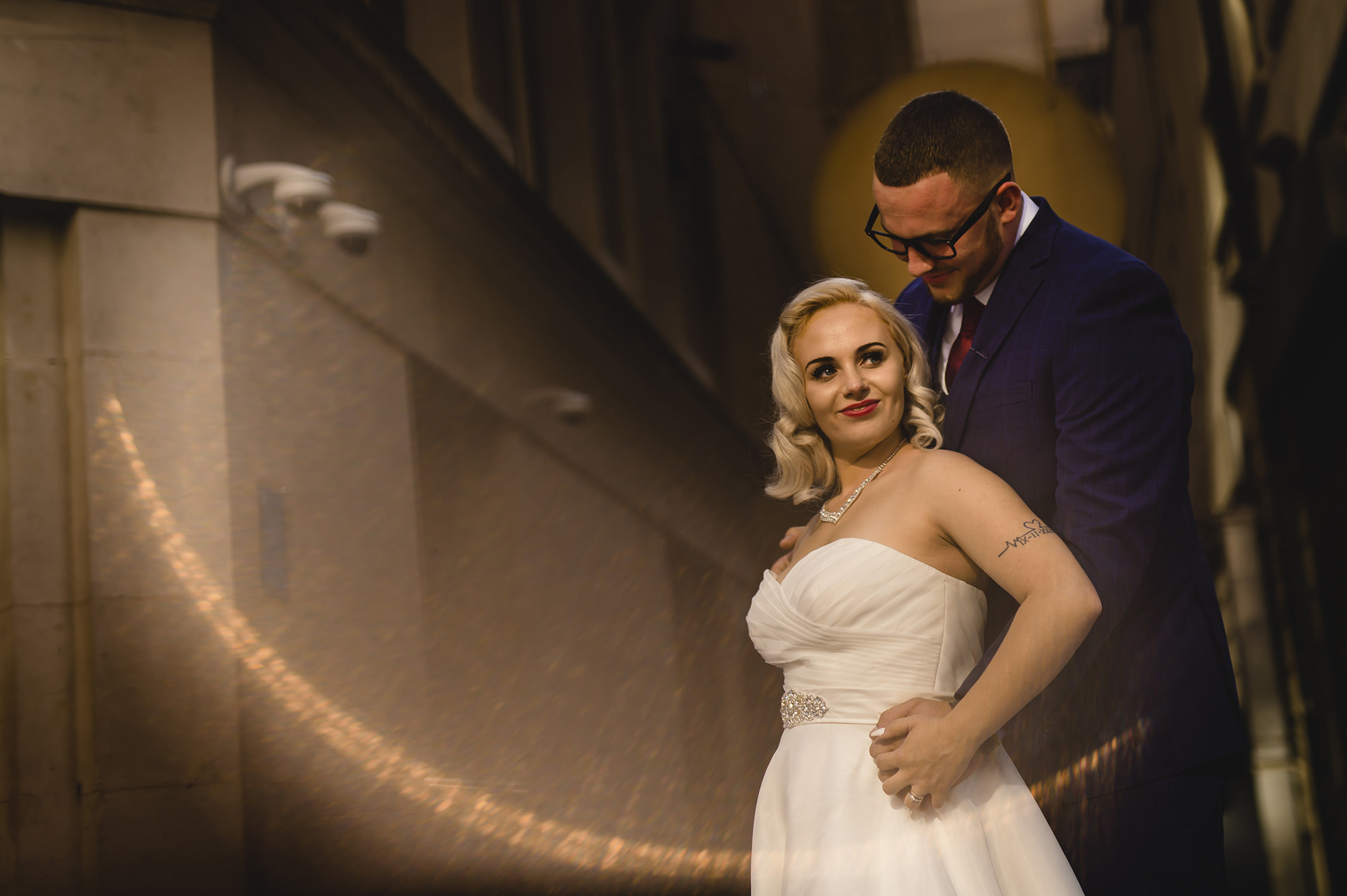 bride and groom portrait in central london