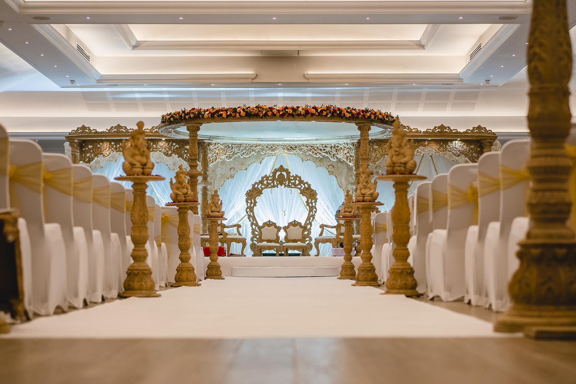 wedding decor of mandap at oshwal centre