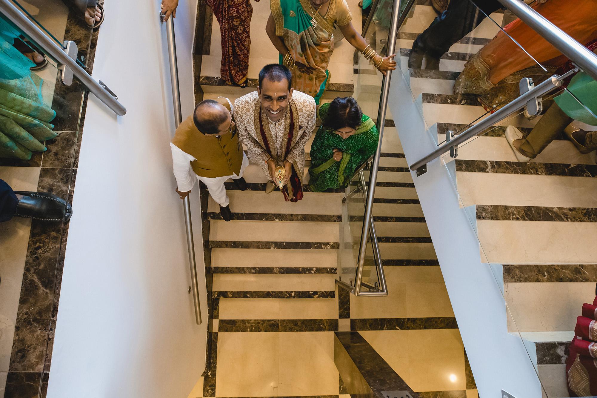 groom entering oshwal centre for breakfast