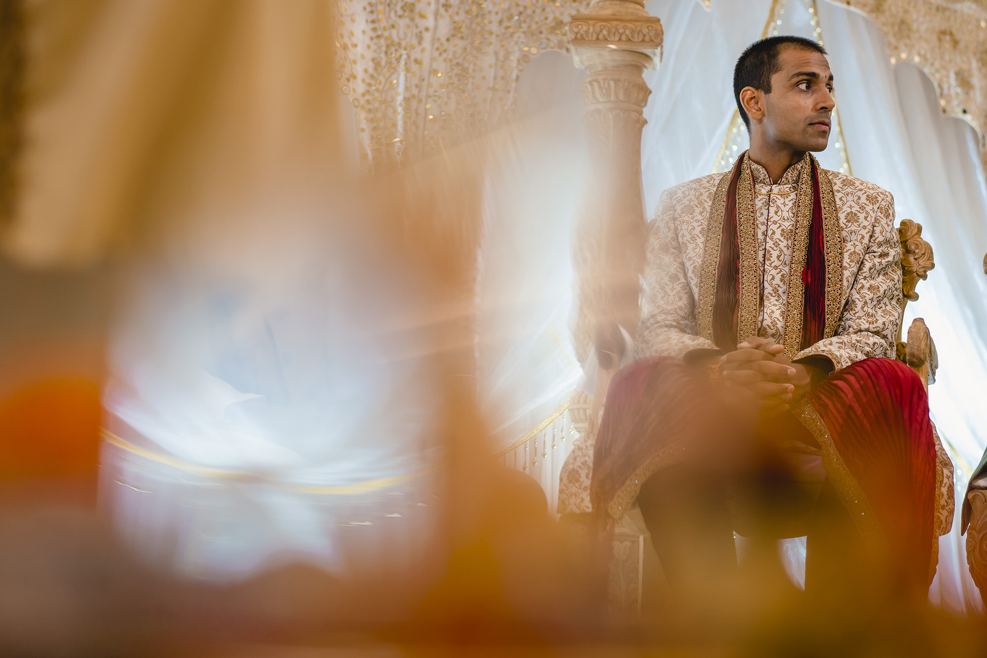 groom waiting for the bride in the mandap