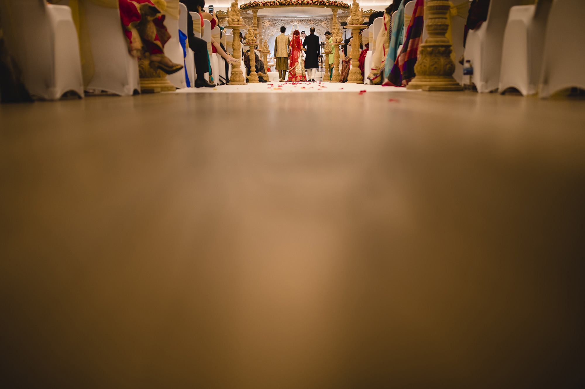 creative image of the brides entrance to the indian wedding