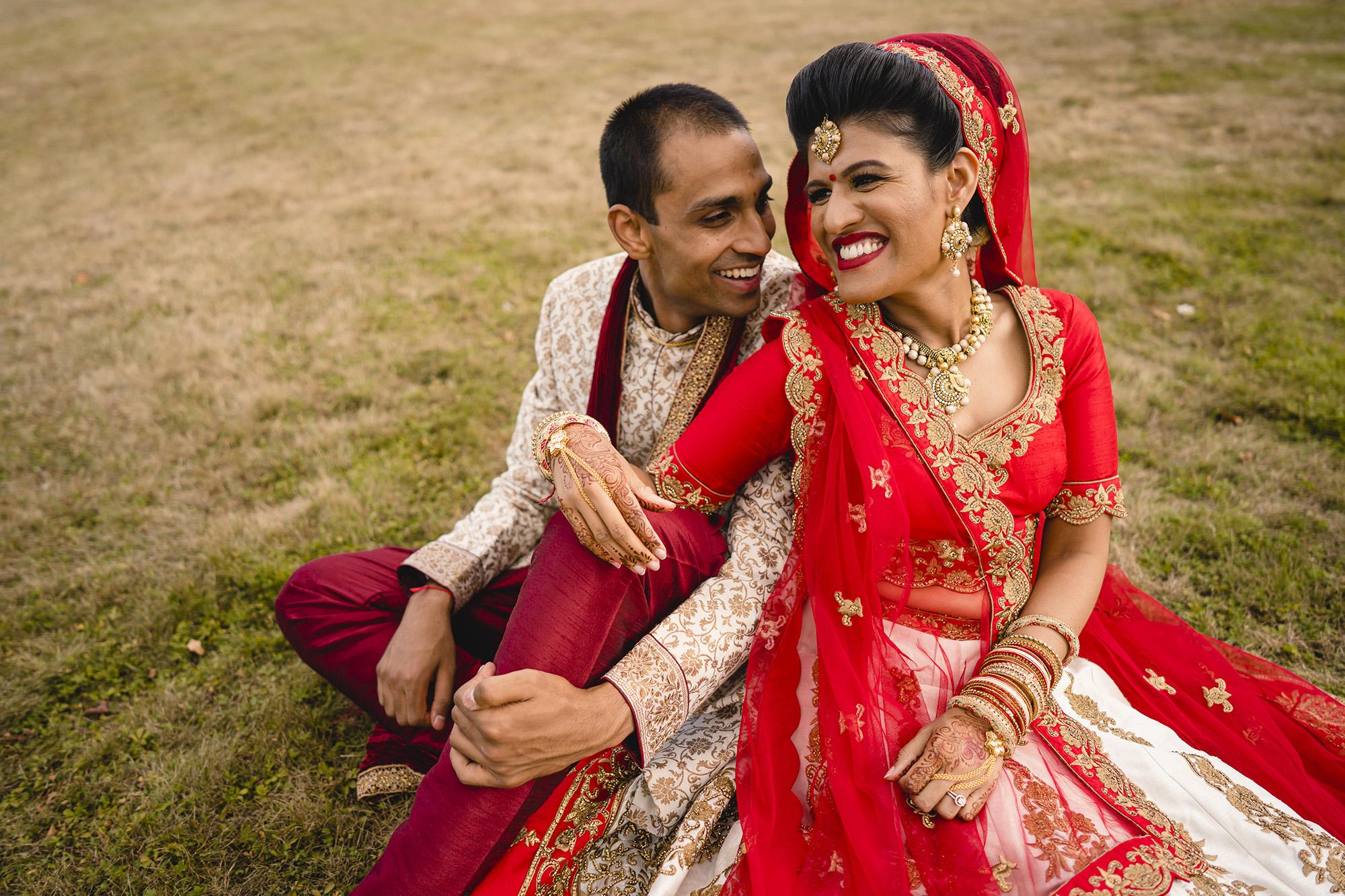 bride and groom portrait after their hindu wedding