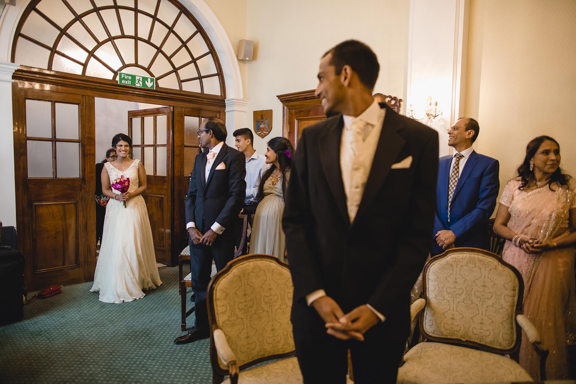 bride entering the civil ceremony