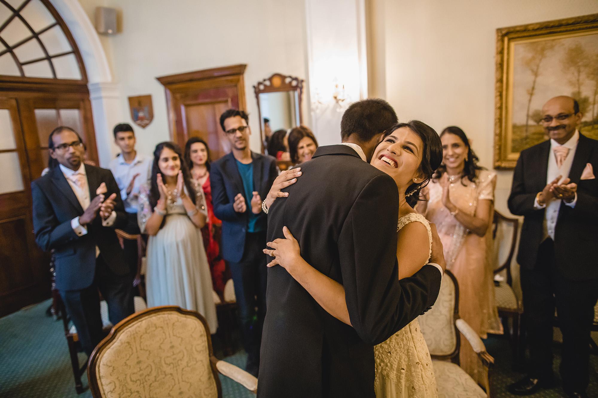 bride and groom at chelsea registry hall