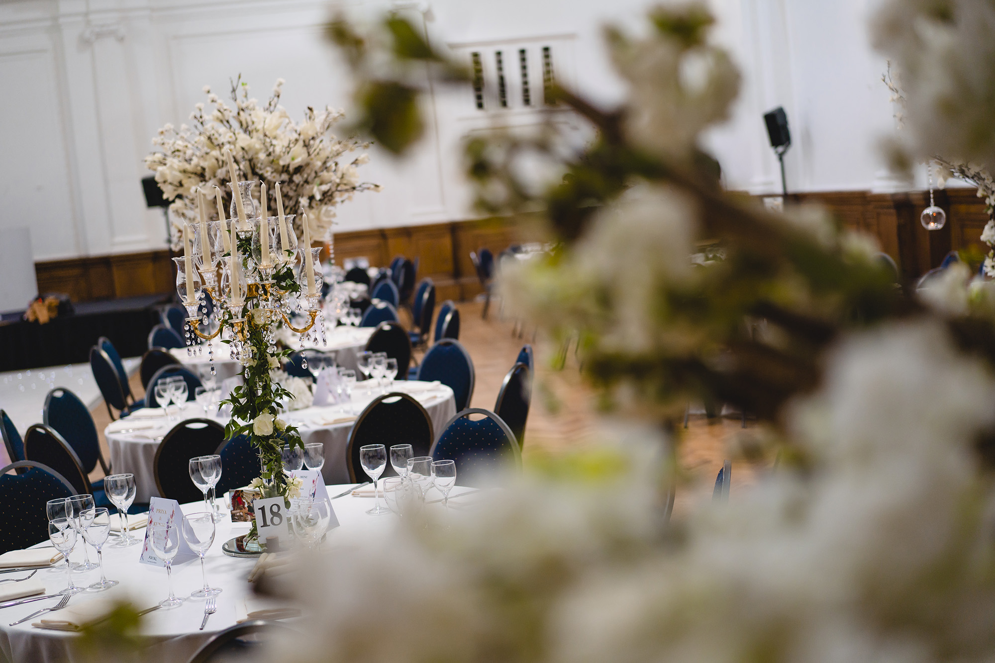 decor details at royal horticultural halls wedding reception