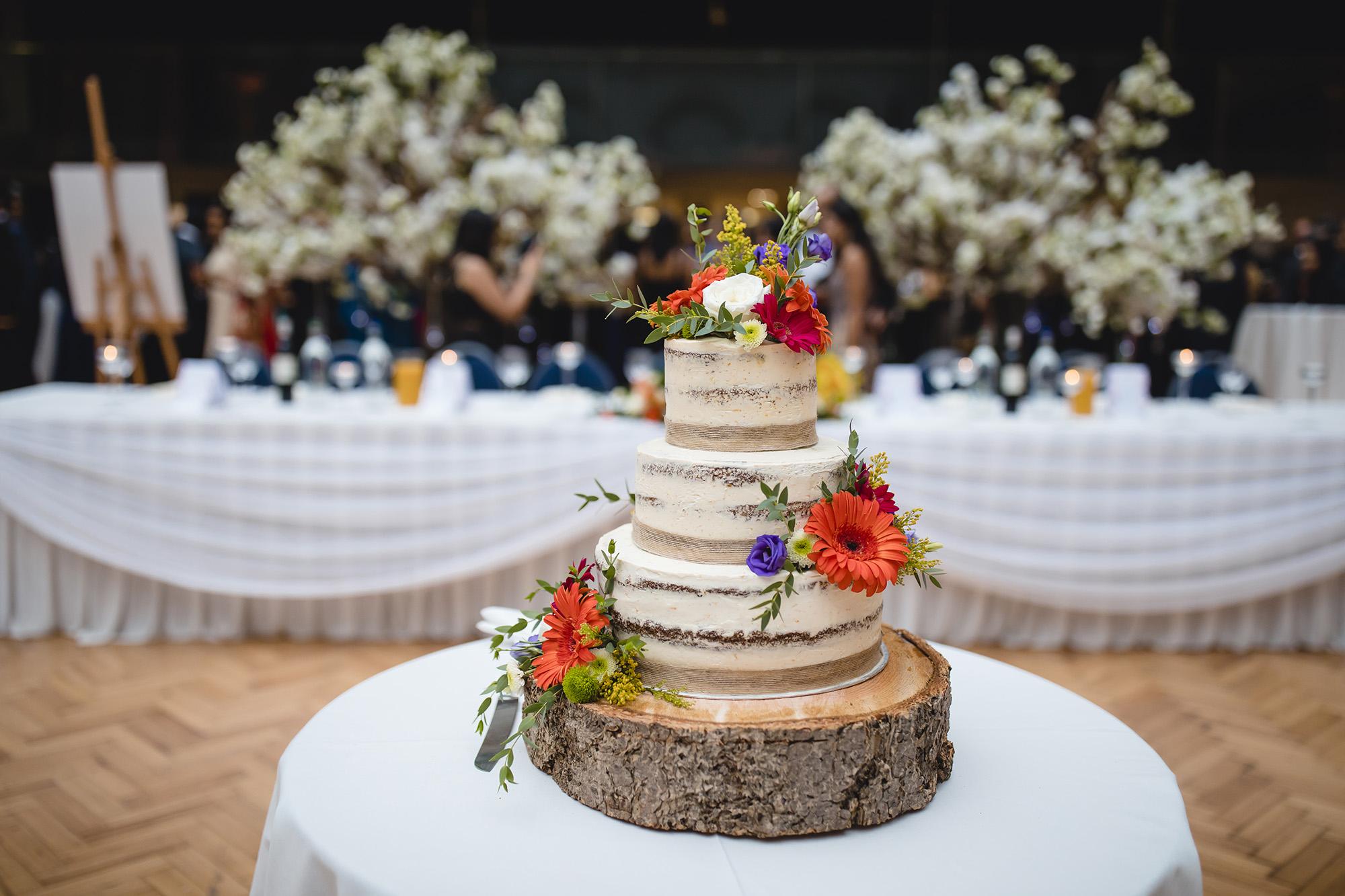 wedding cake at royal horticultural halls