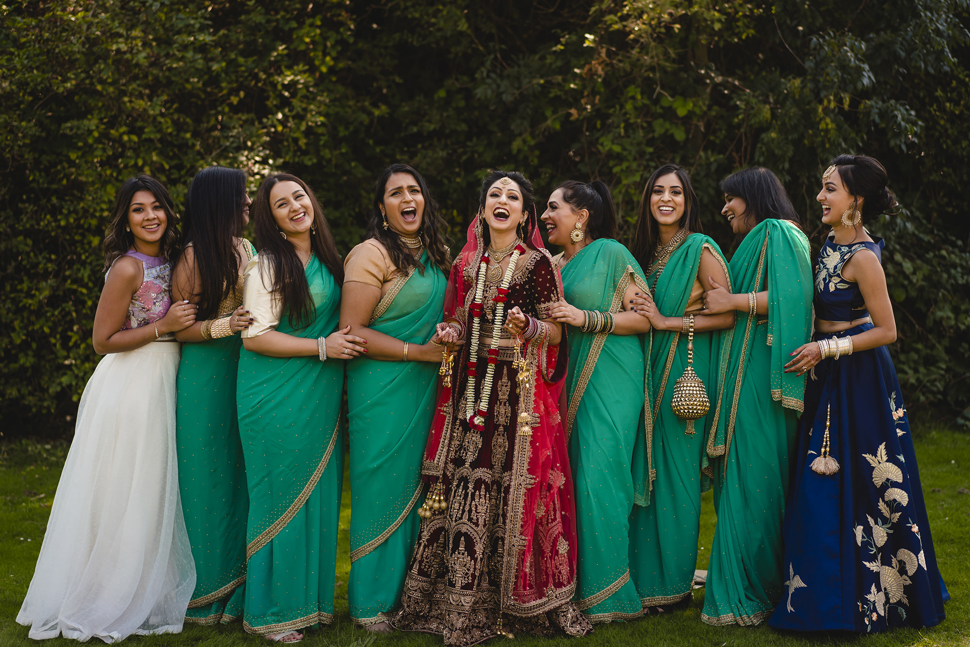 bride and her bridesmaids wedding portrait