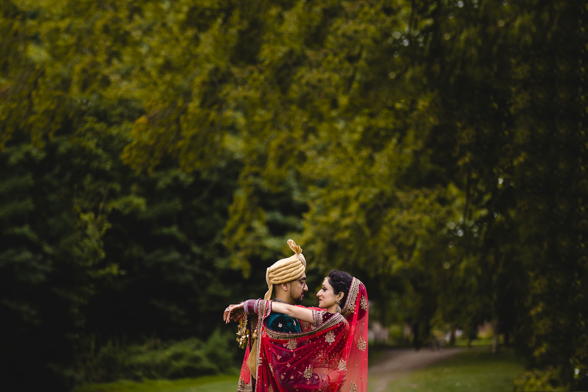 bride and groom portraits at addington palace