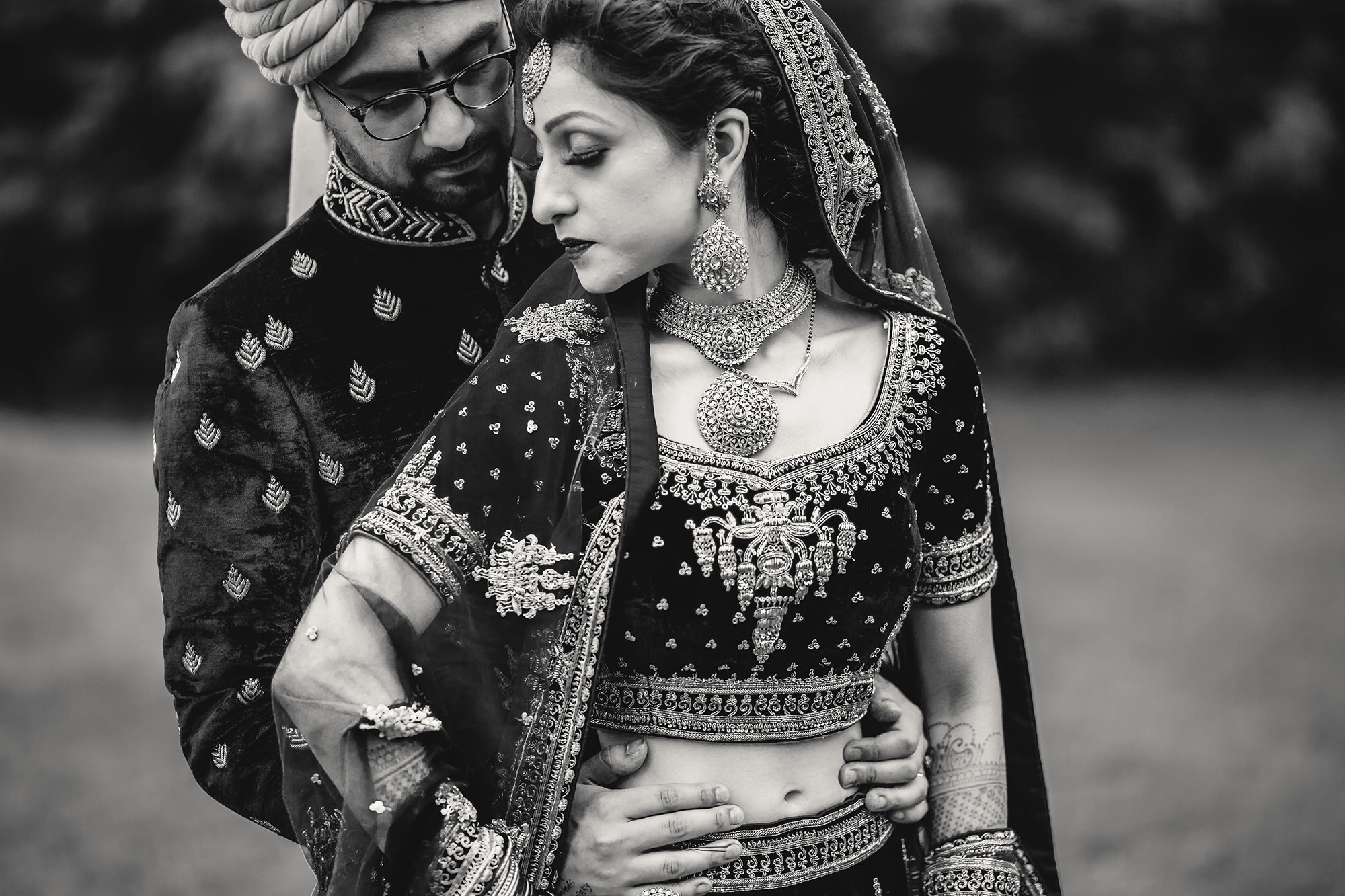 bride and groom portrait in black and white after hindu wedding ceremony