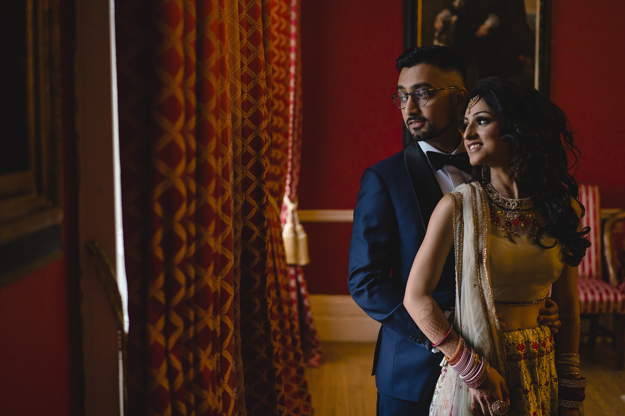bride and groom portraits at addington palance
