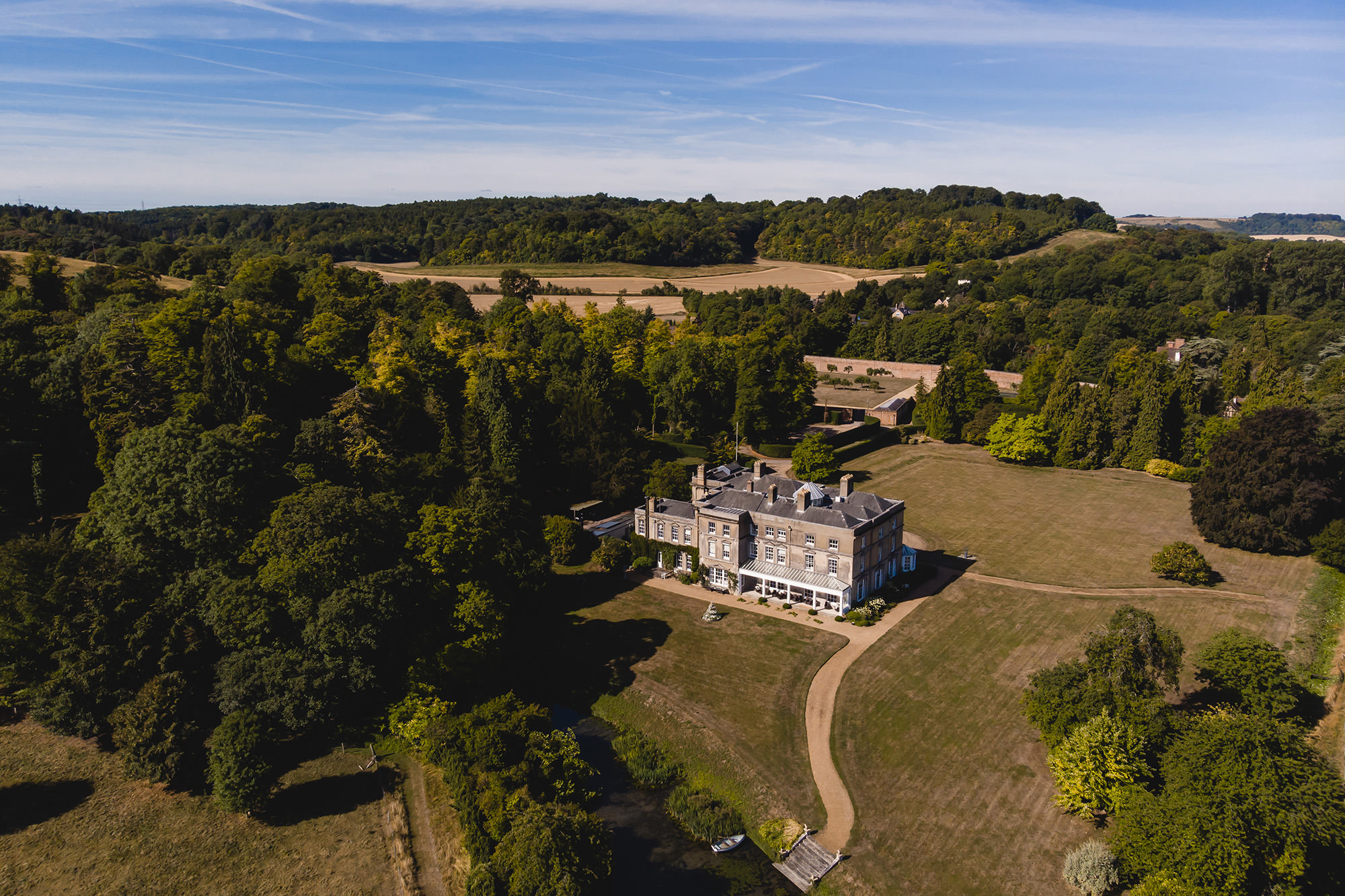 drone picture of hexton manor