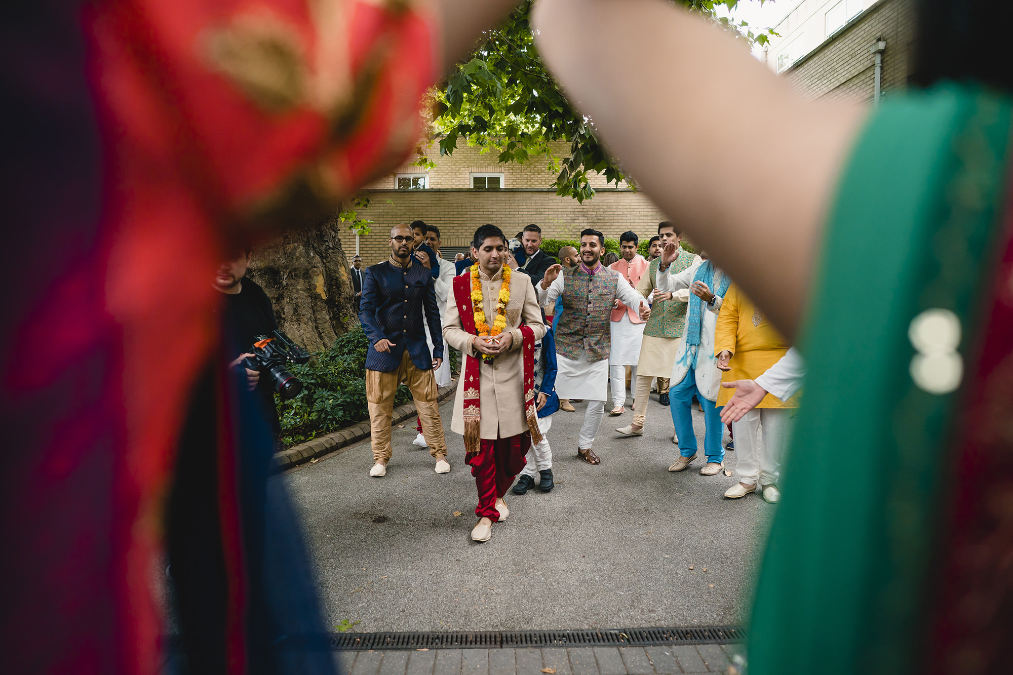 groom making his entrance to the indian wedding
