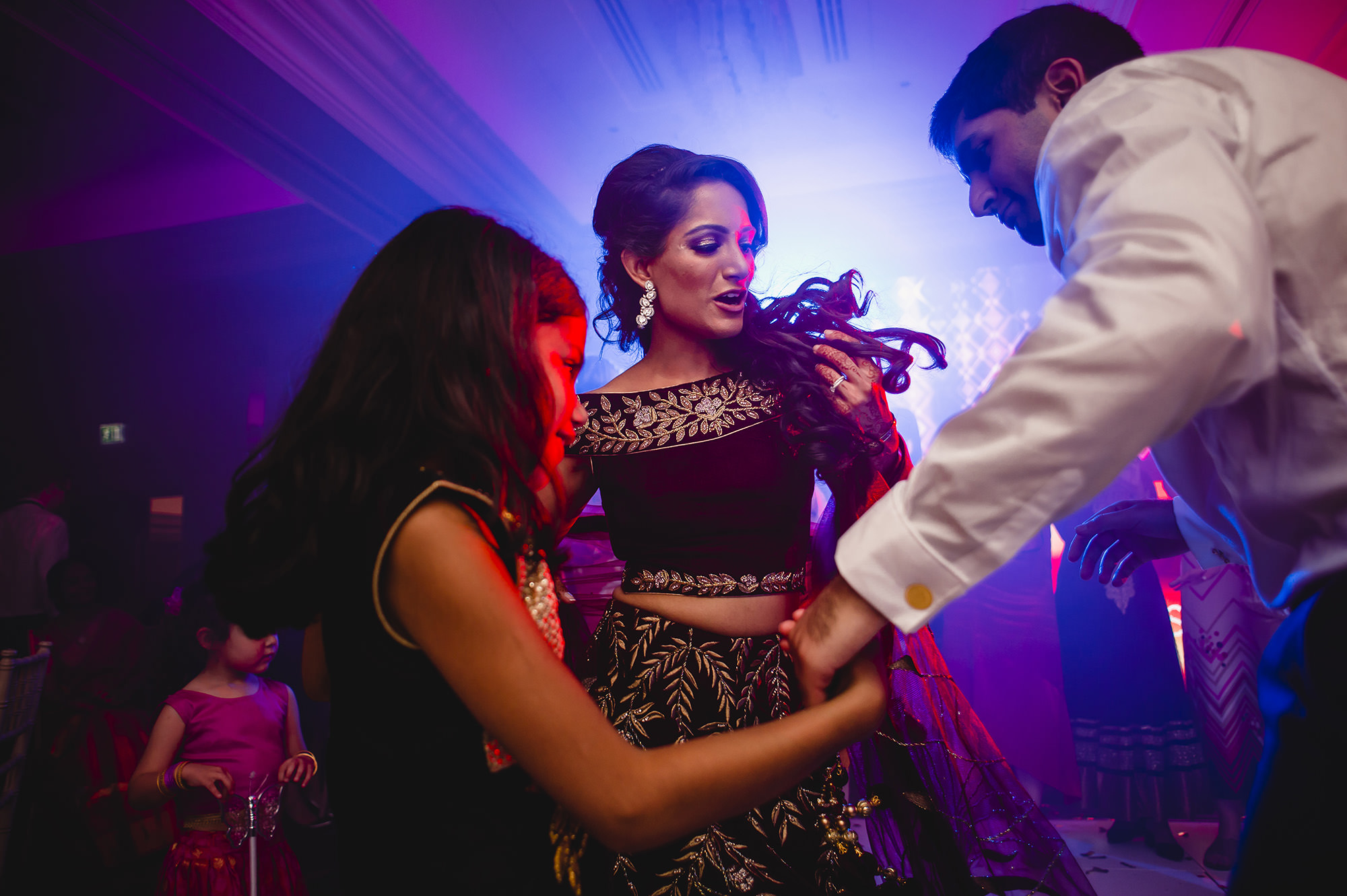 bride dancing during the wedding reception