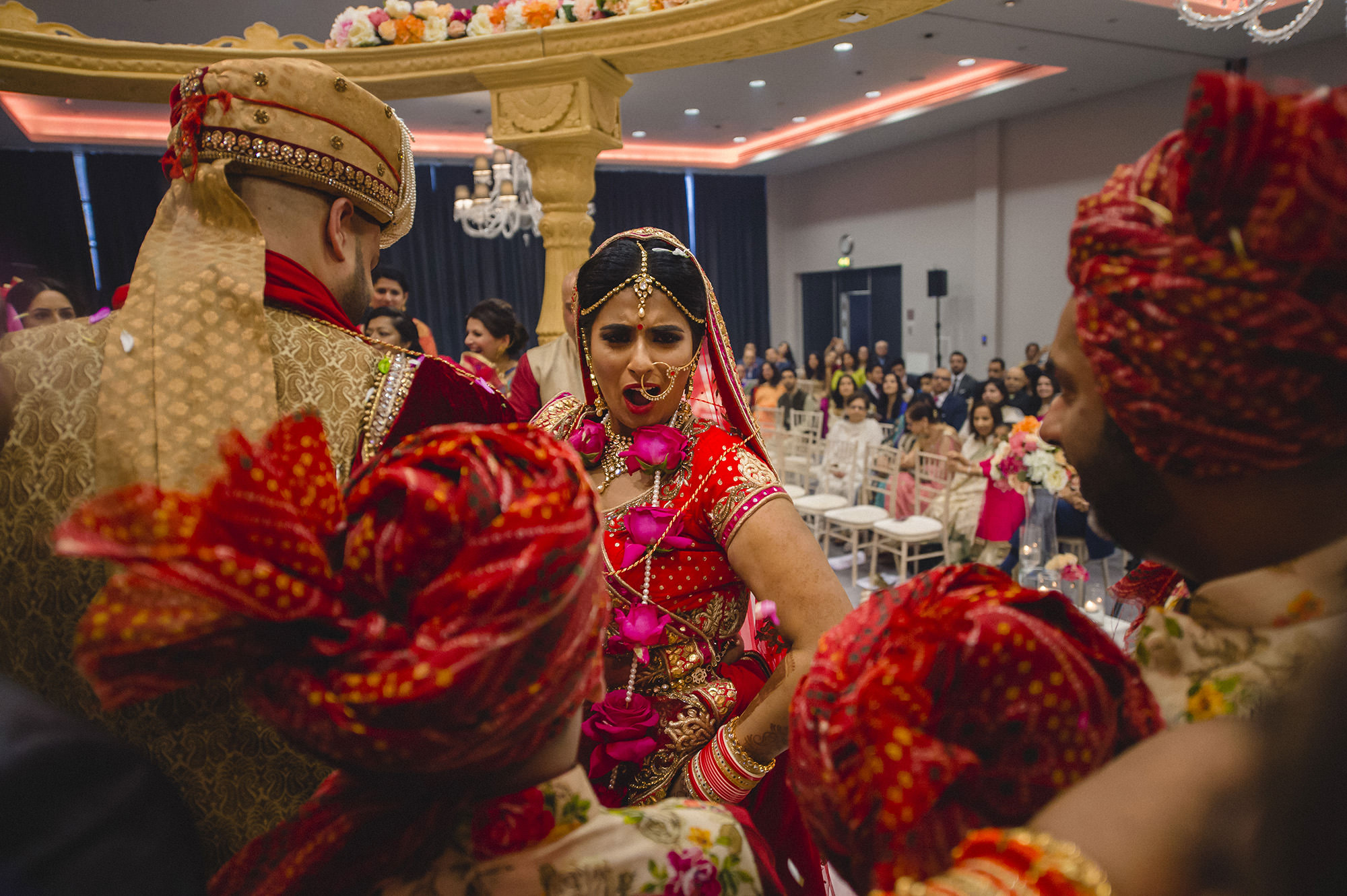 bride and groom during fera of the hindu wedding