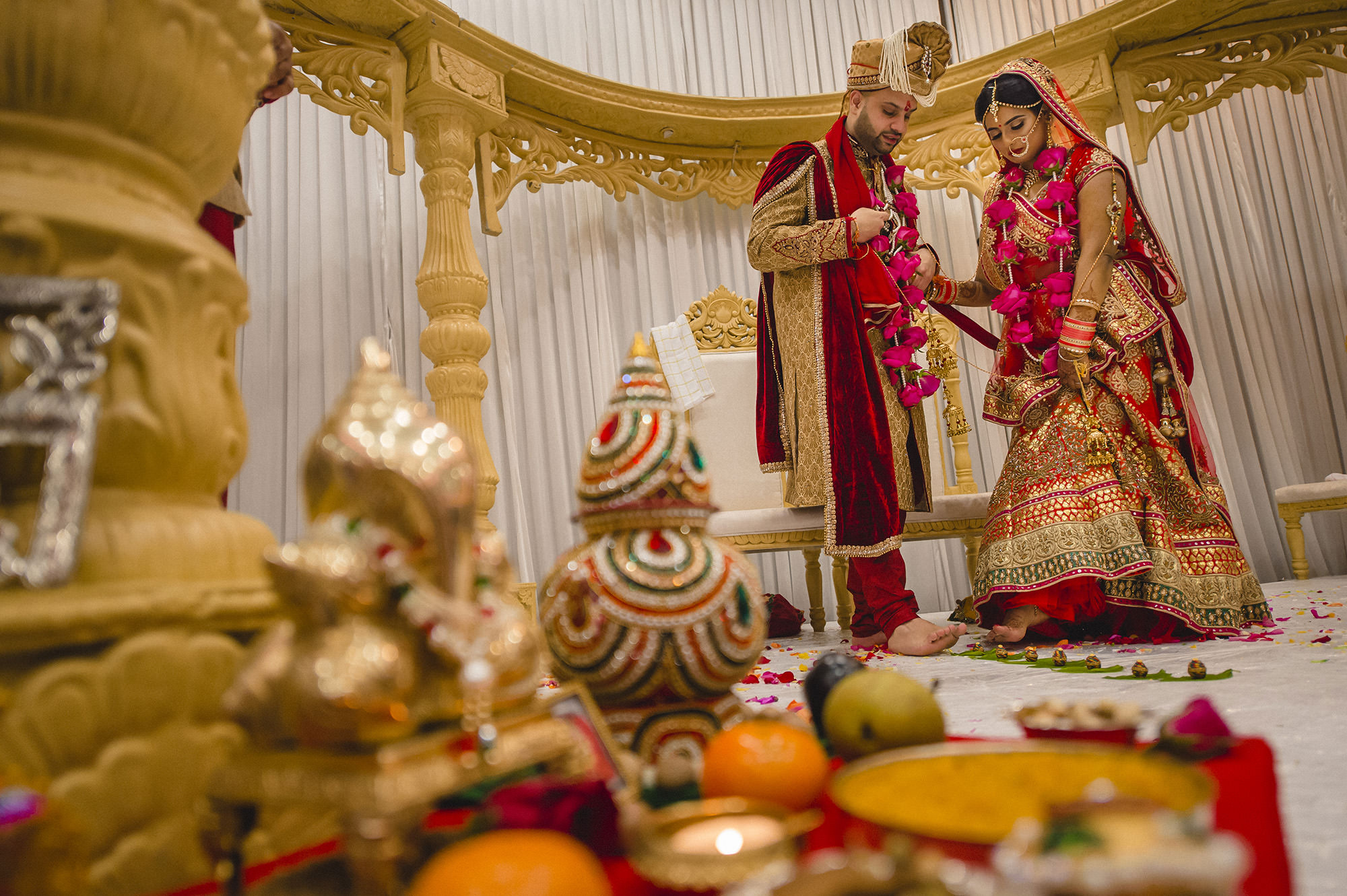 bride and groom during hindu wedding ceremony