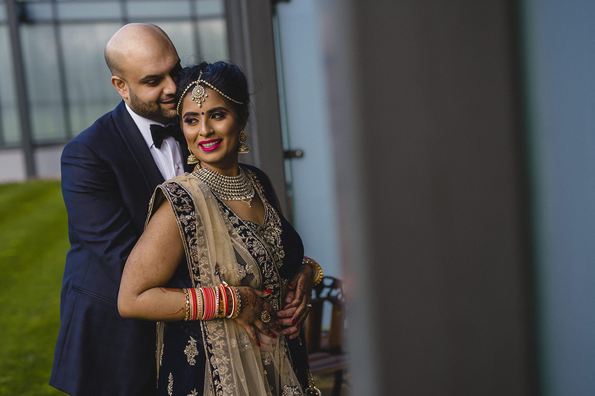 bride and groom portraits in their indian wedding outfits