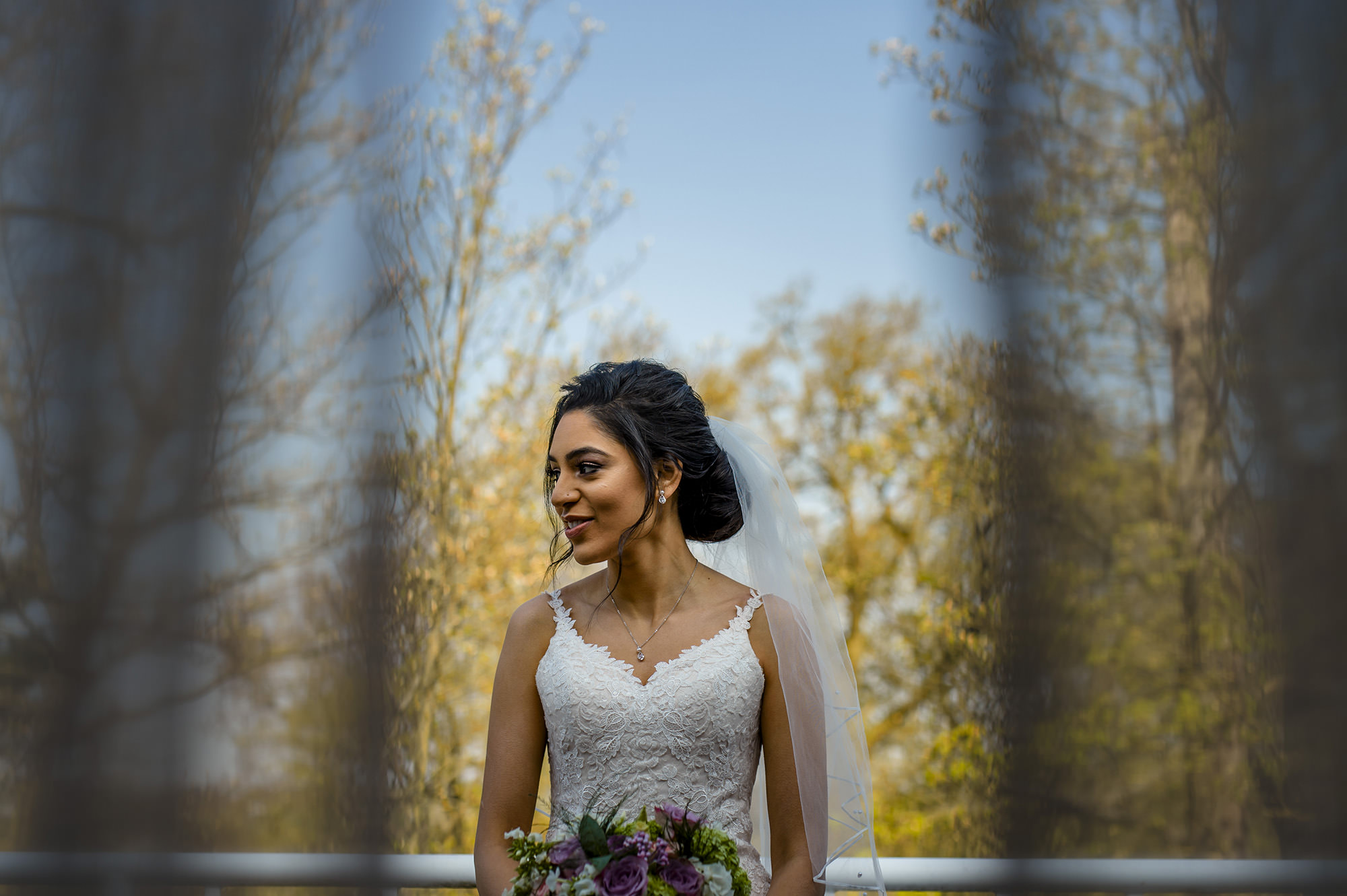 bridal portrait at the belfry in her white dress