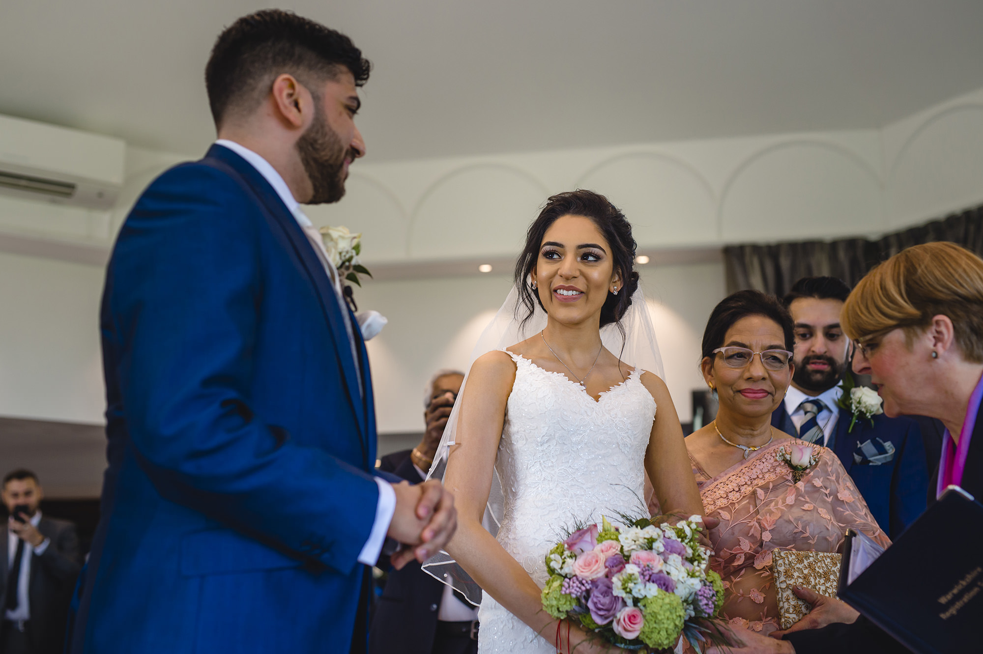 bride and groom at their civil wedding
