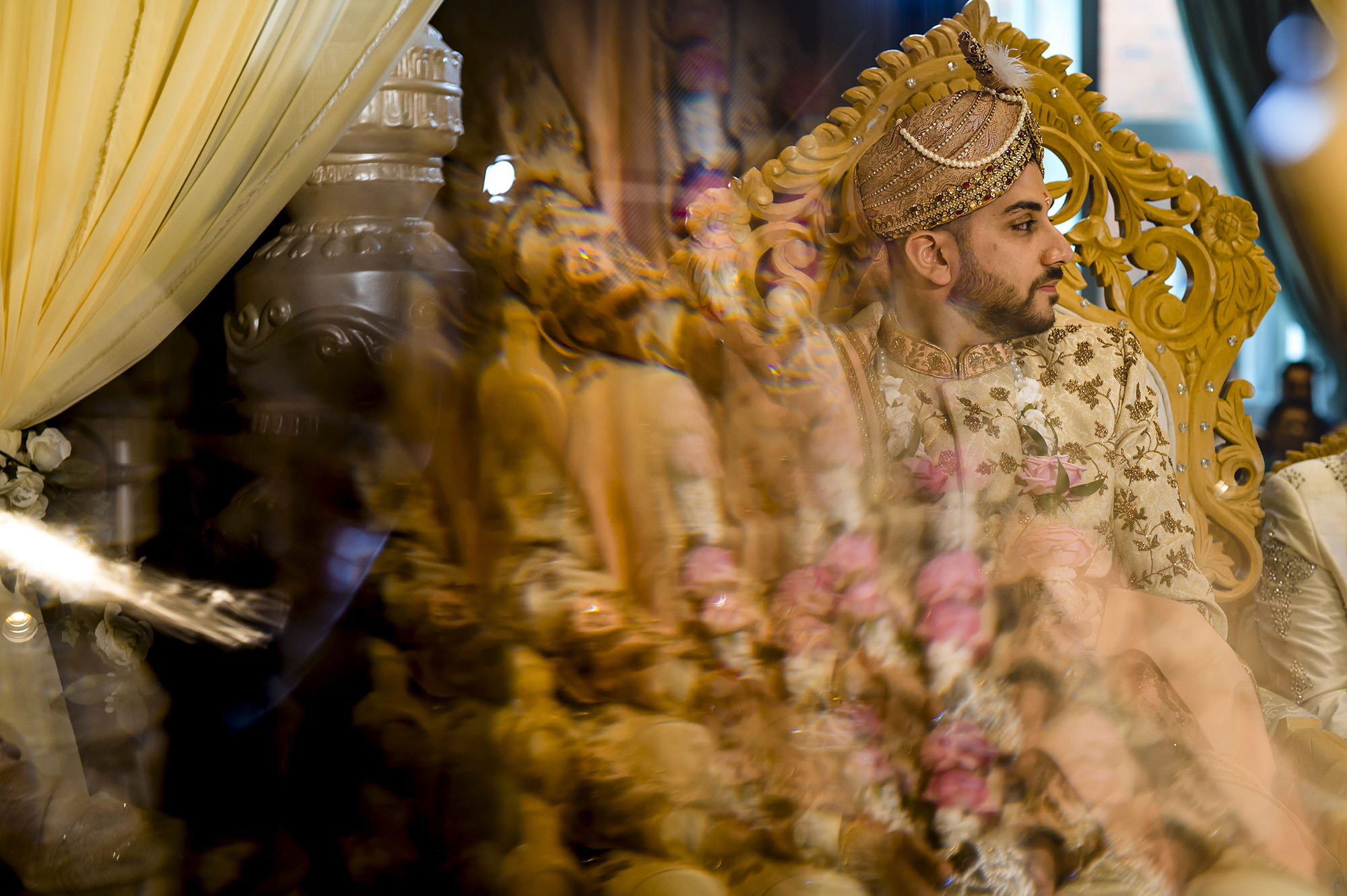 creative picture of the groom waiting for the bride in the mandap