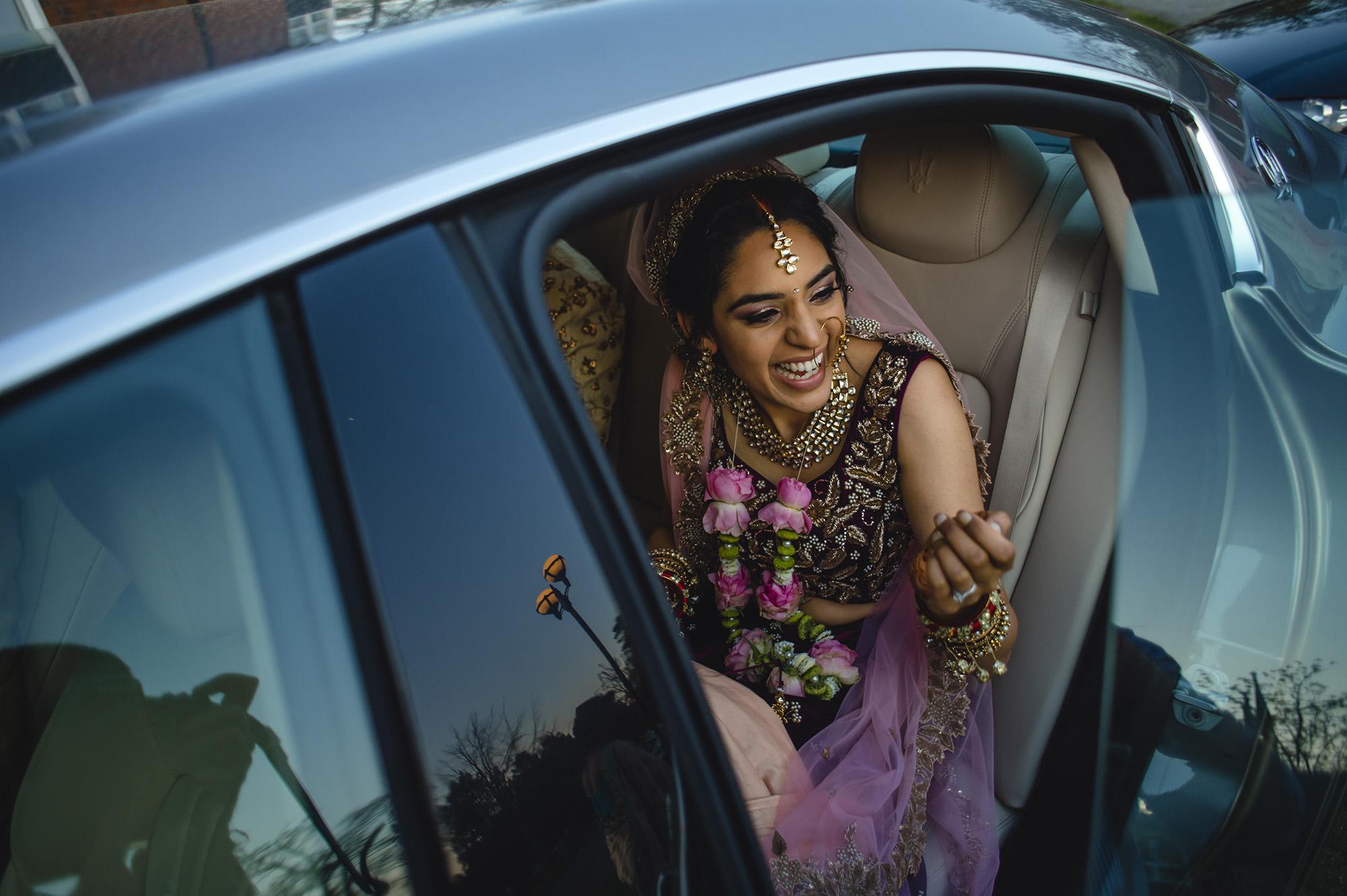 bride leaving the wedding