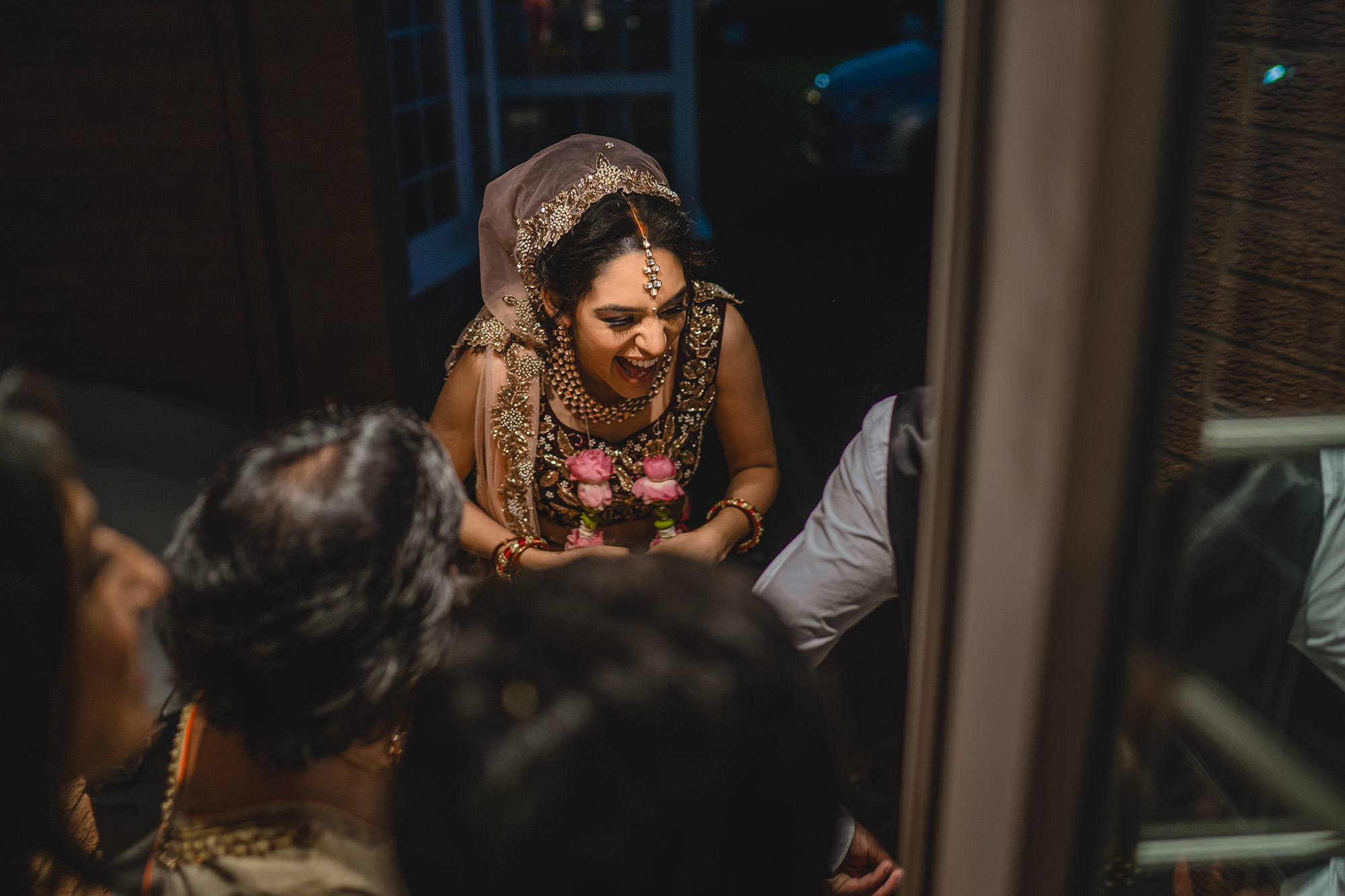 bride at her house at the end of the wedding
